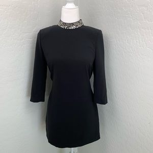 H&M black long sleeve beaded neck cocktail dress 8
